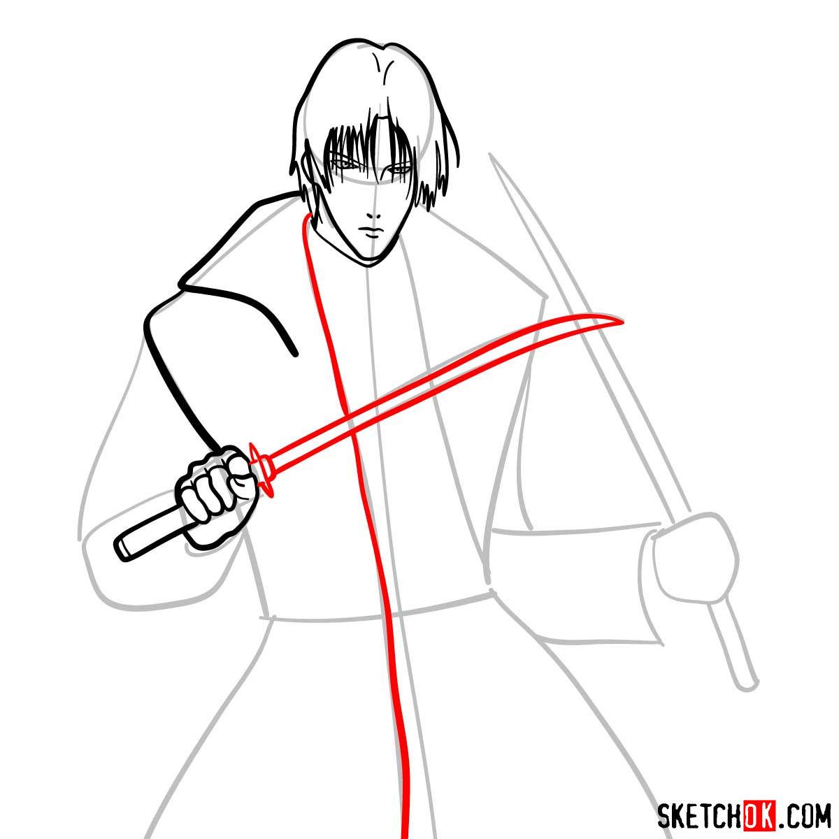 How to draw Shinomori Aoshi   Rurouni Kenshin - step 07