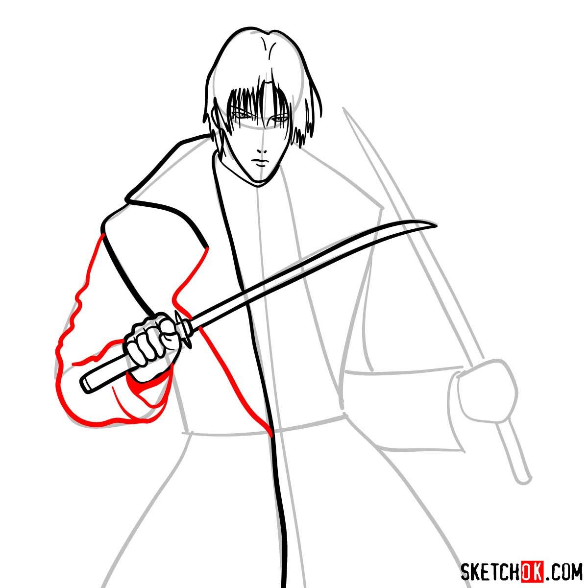 How to draw Shinomori Aoshi   Rurouni Kenshin - step 08