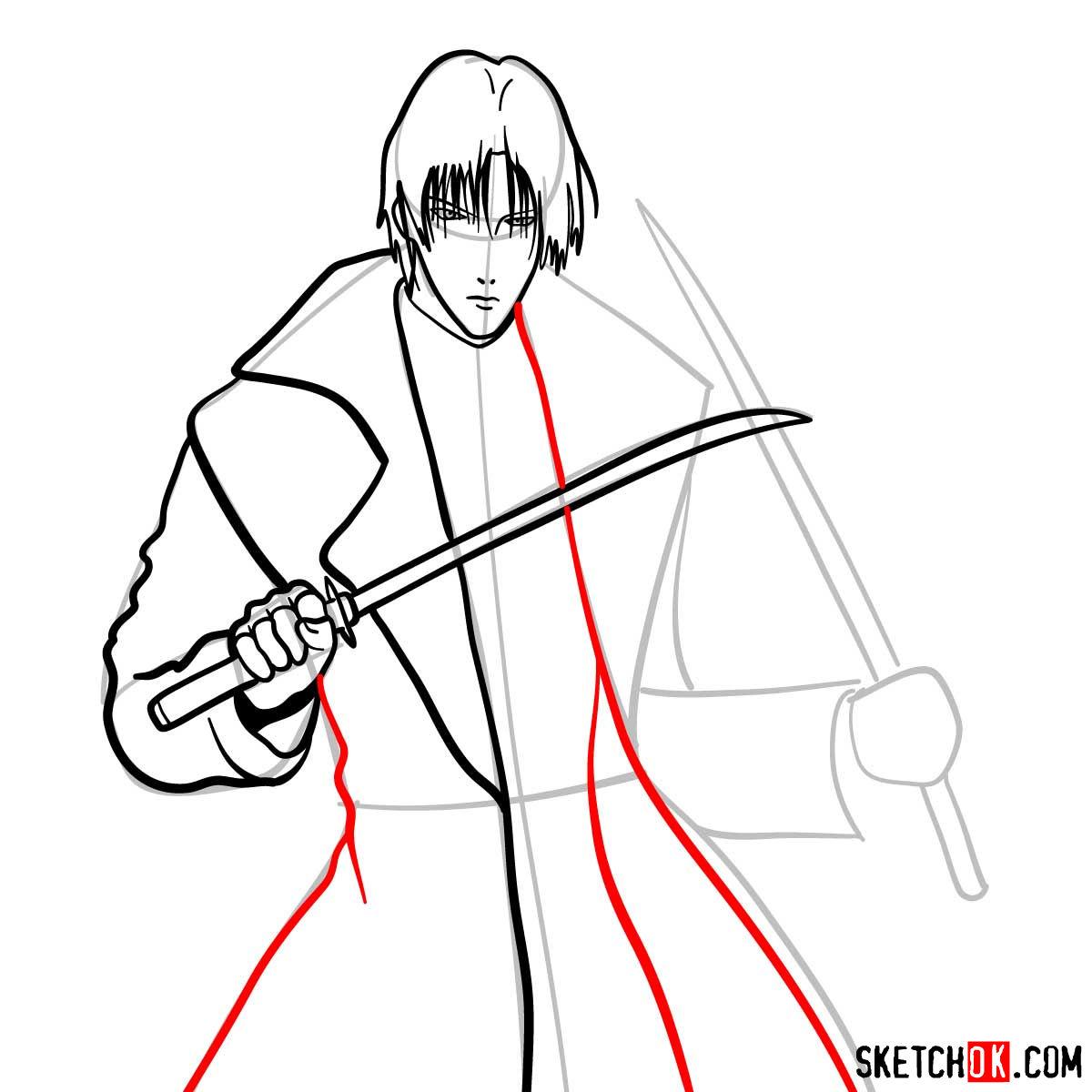 How to draw Shinomori Aoshi   Rurouni Kenshin - step 09