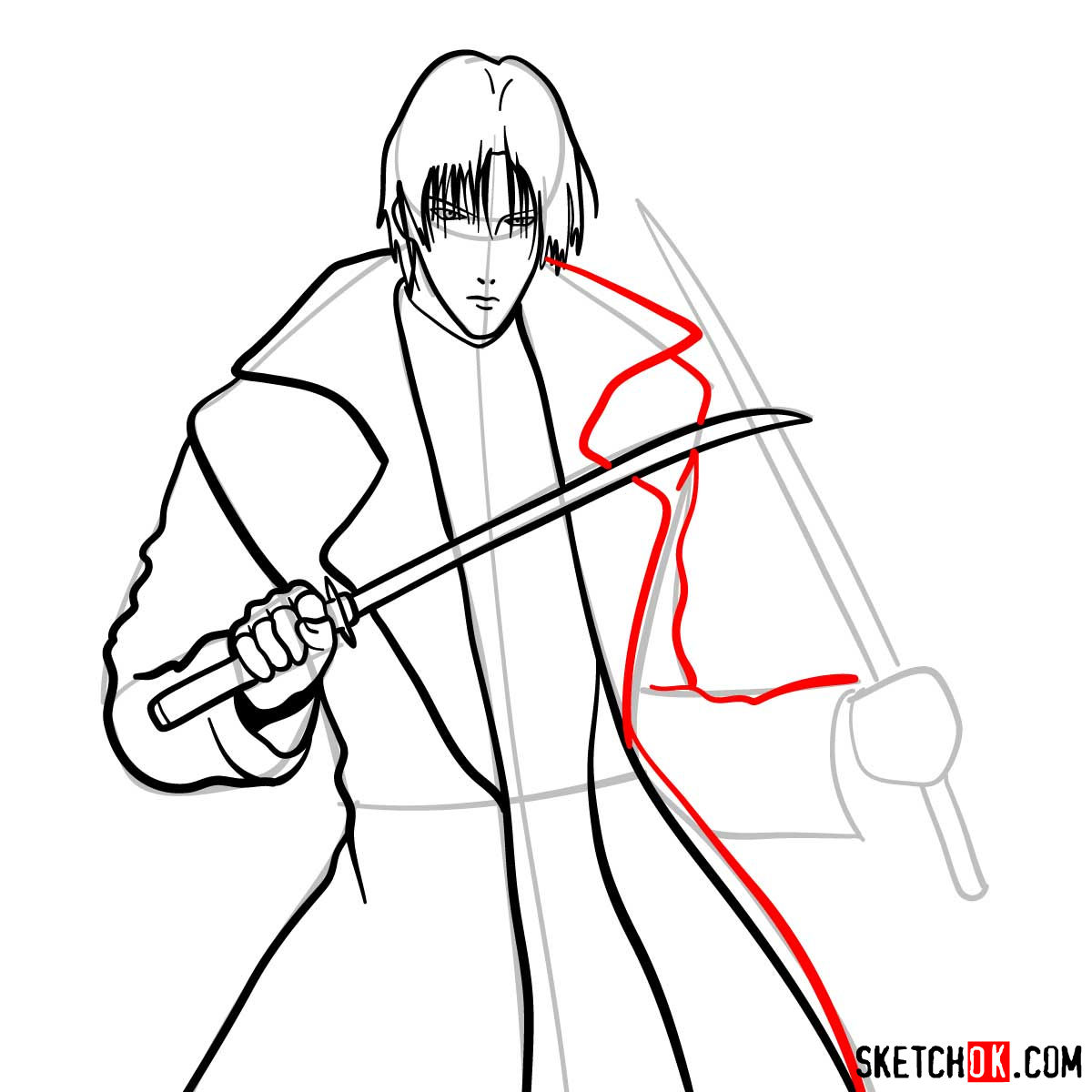 How to draw Shinomori Aoshi   Rurouni Kenshin - step 10