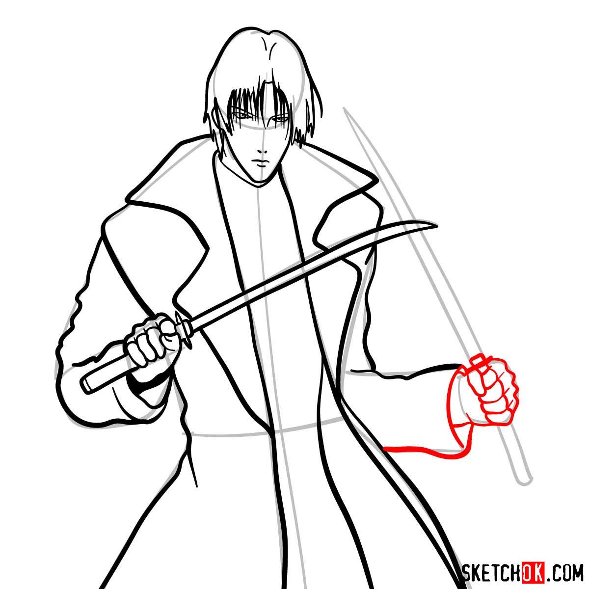 How to draw Shinomori Aoshi   Rurouni Kenshin - step 11