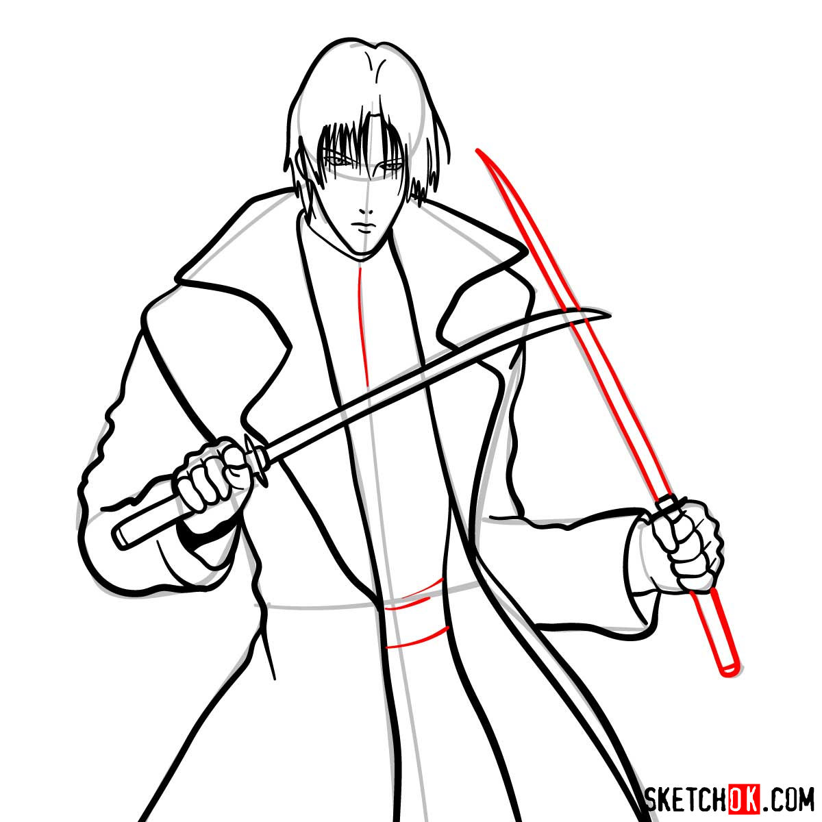 How to draw Shinomori Aoshi   Rurouni Kenshin - step 12