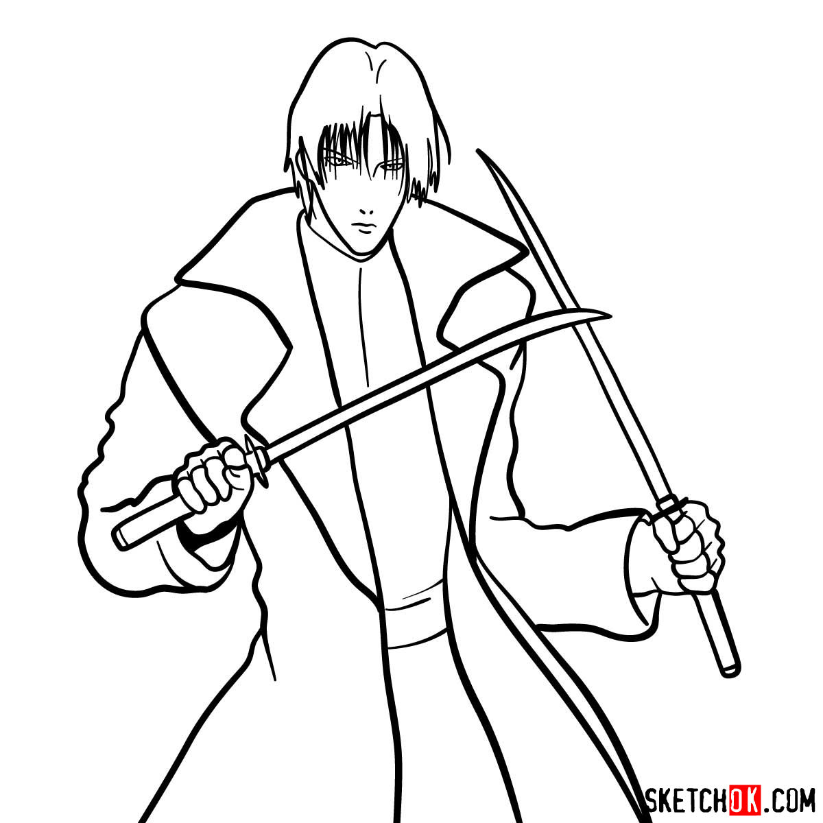 How to draw Shinomori Aoshi | Rurouni Kenshin