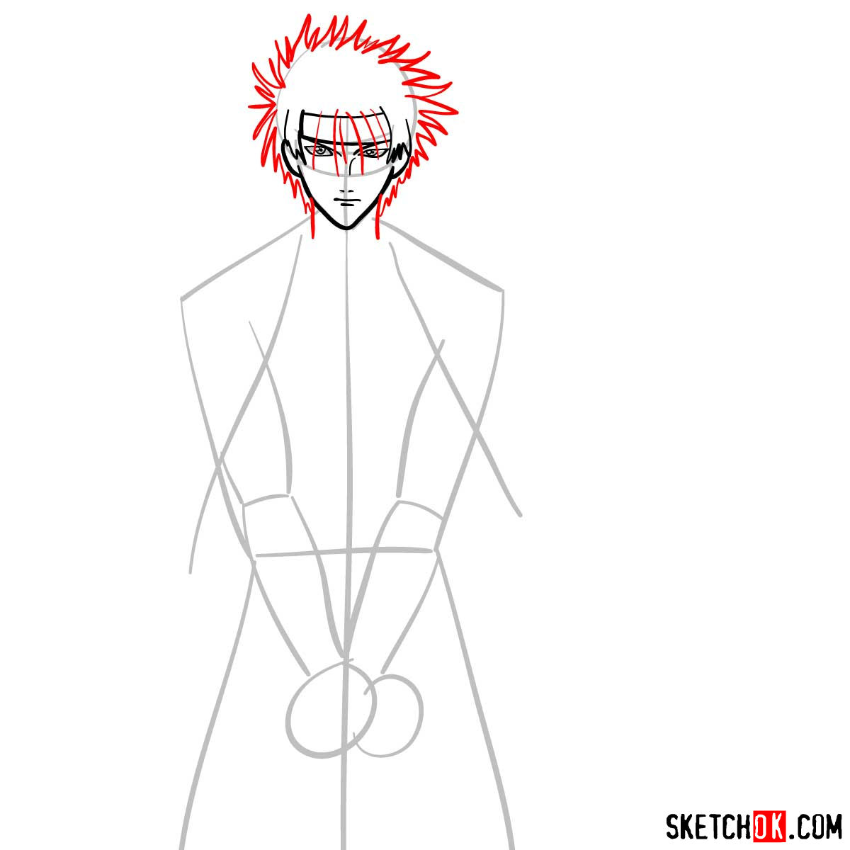 How to draw Sagara Sanosuke | Rurouni Kenshin - step 05