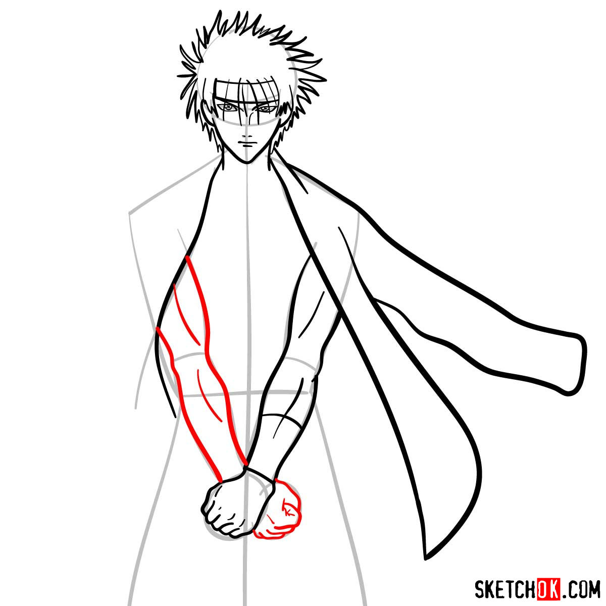How to draw Sagara Sanosuke | Rurouni Kenshin - step 08