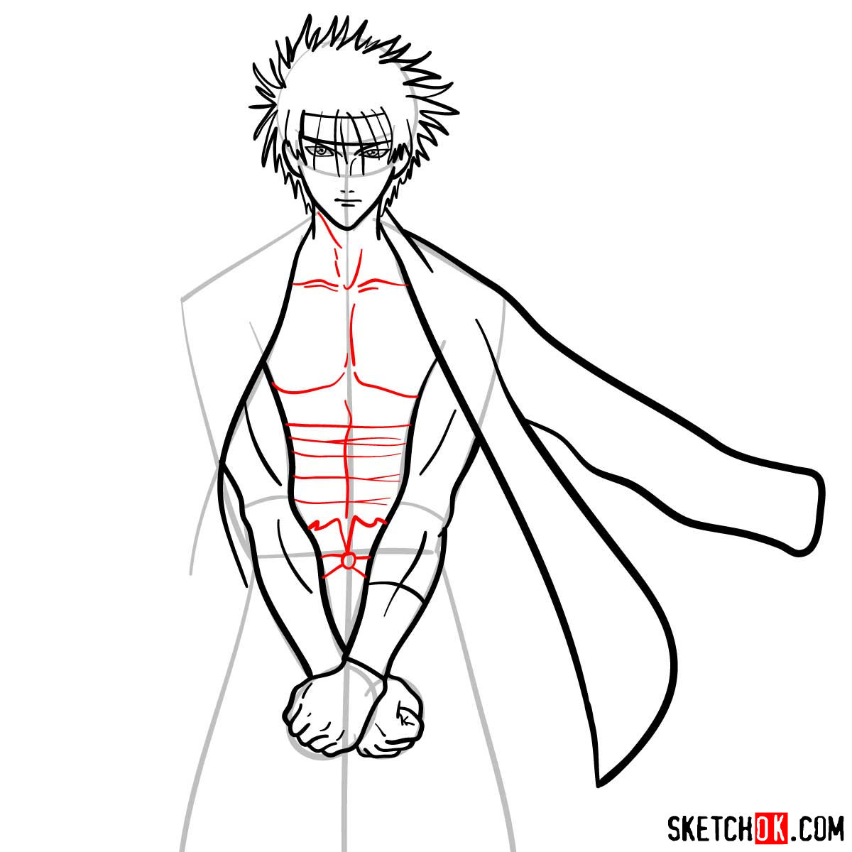 How to draw Sagara Sanosuke | Rurouni Kenshin - step 09