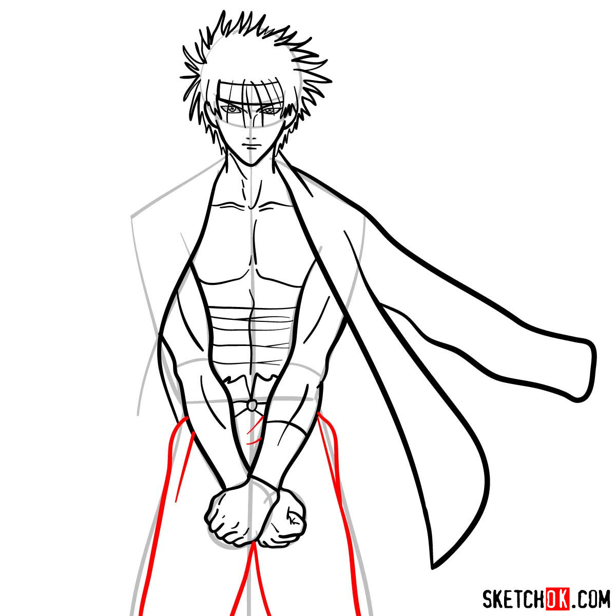 How to draw Sagara Sanosuke | Rurouni Kenshin - step 10