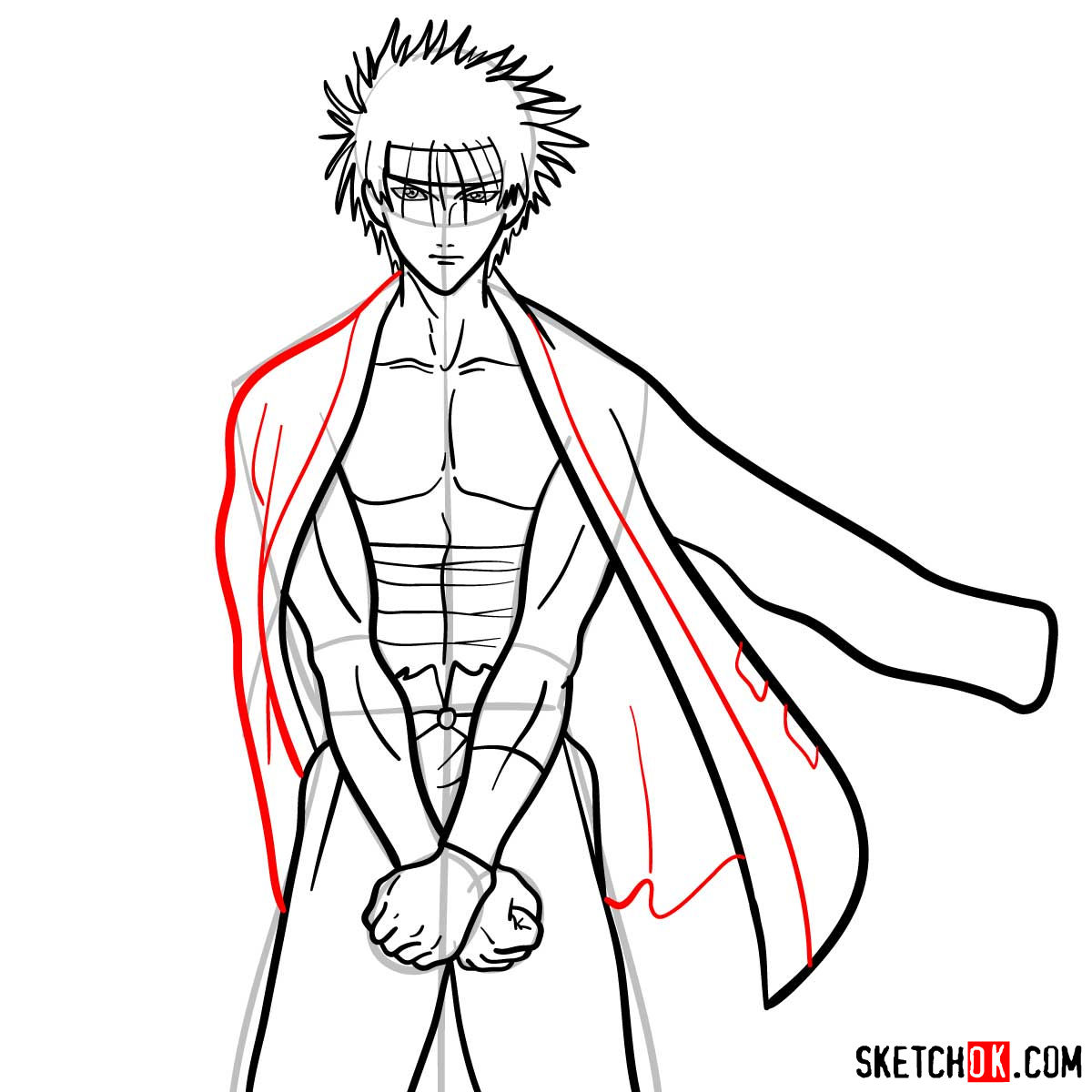 How to draw Sagara Sanosuke | Rurouni Kenshin - step 11