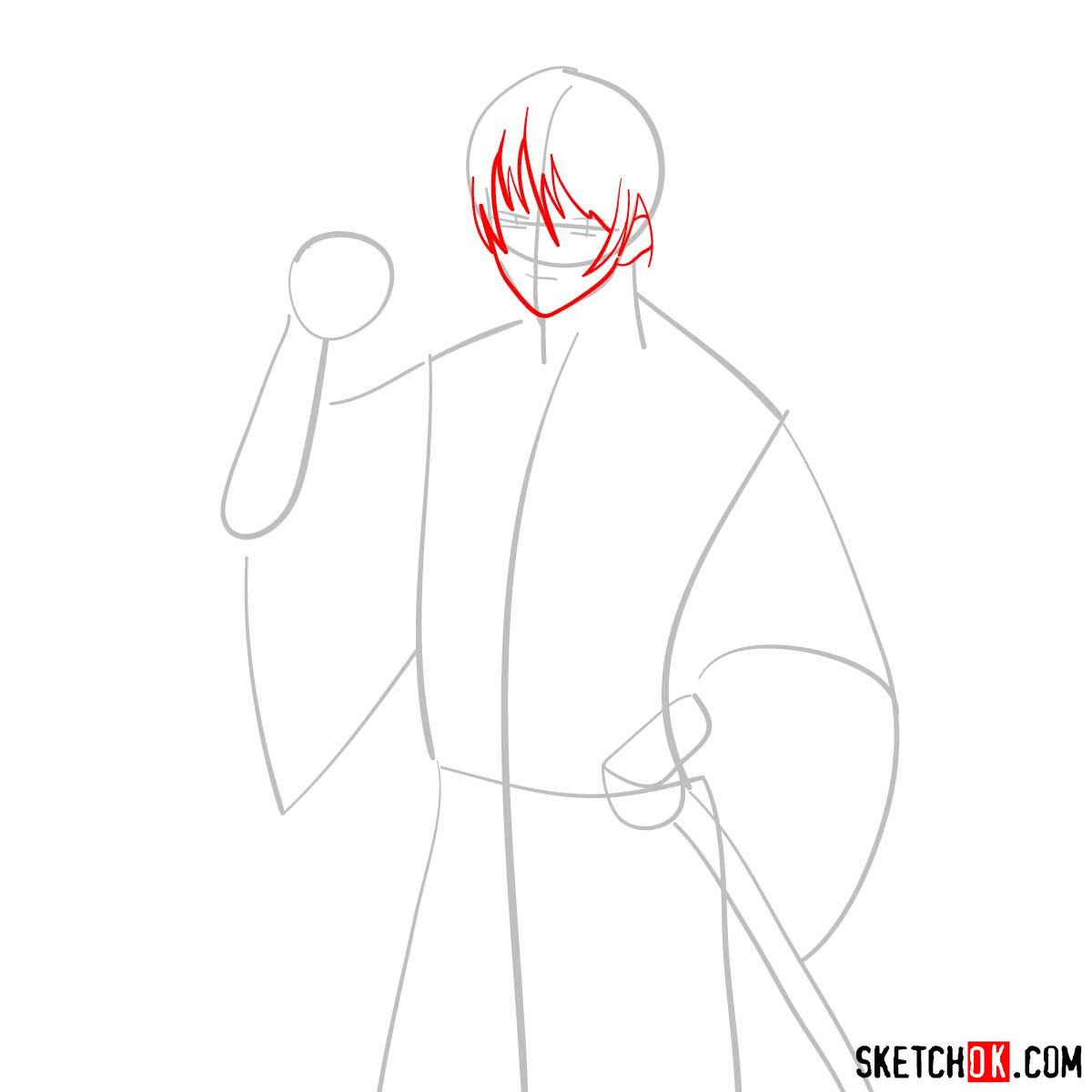How to draw Seta Sojiro | Rurouni Kenshin - step 03