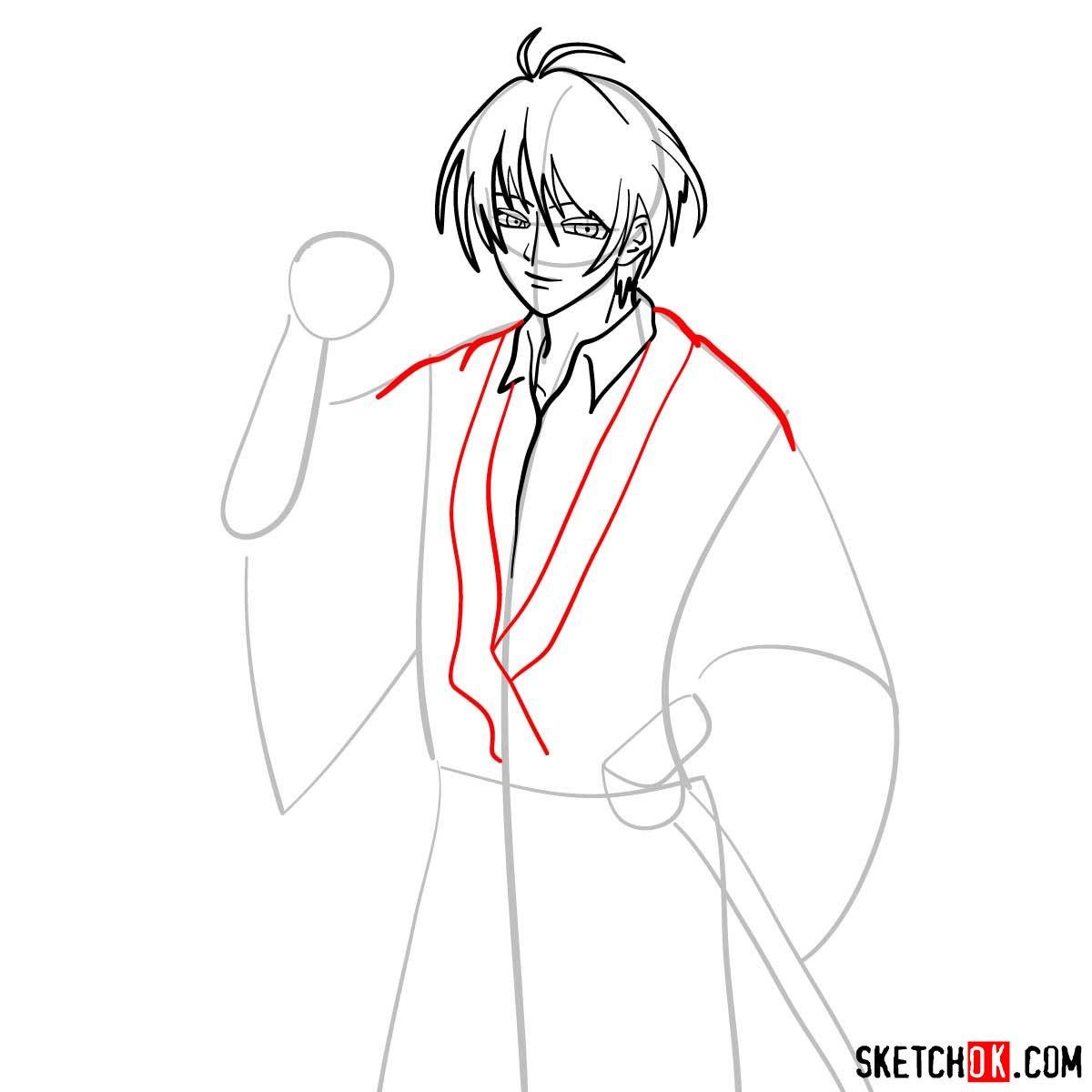How to draw Seta Sojiro | Rurouni Kenshin - step 07