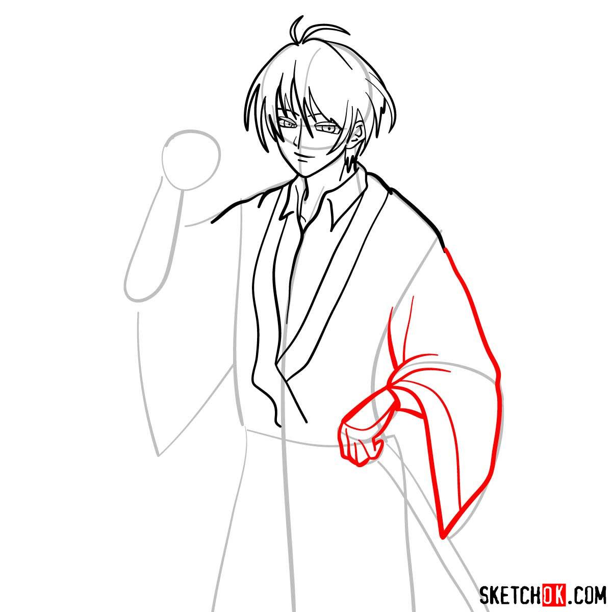 How to draw Seta Sojiro | Rurouni Kenshin - step 08