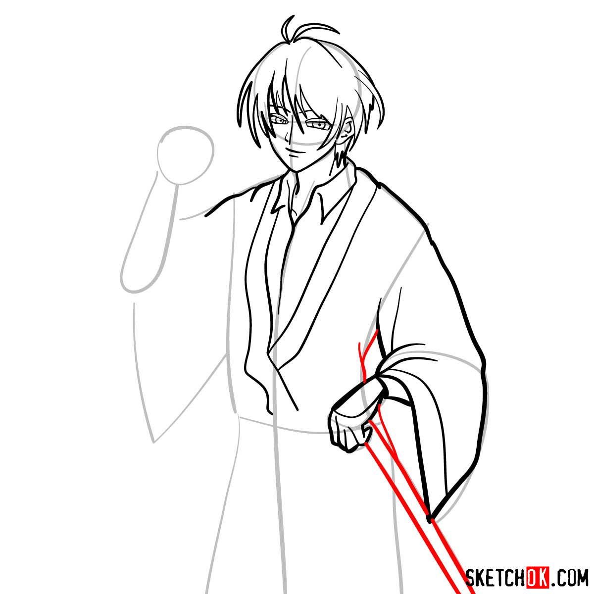 How to draw Seta Sojiro | Rurouni Kenshin - step 09