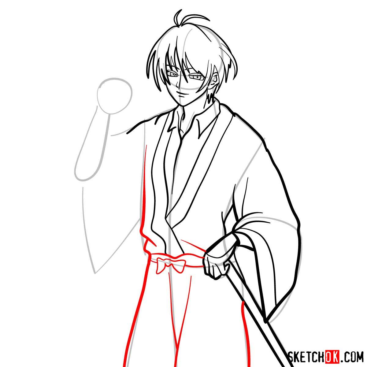 How to draw Seta Sojiro | Rurouni Kenshin - step 10