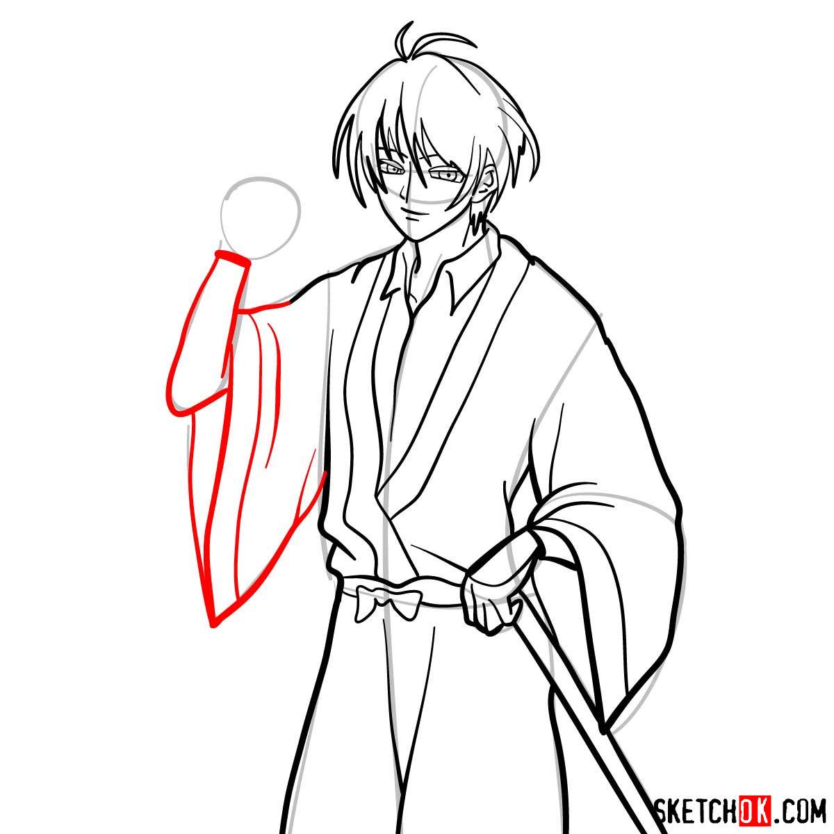 How to draw Seta Sojiro | Rurouni Kenshin - step 11