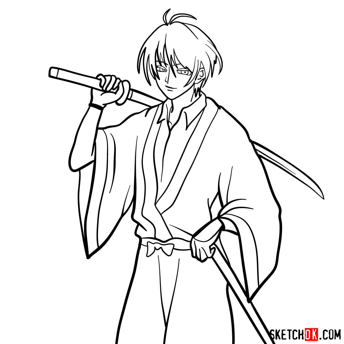 How to draw Seta Sojiro | Rurouni Kenshin