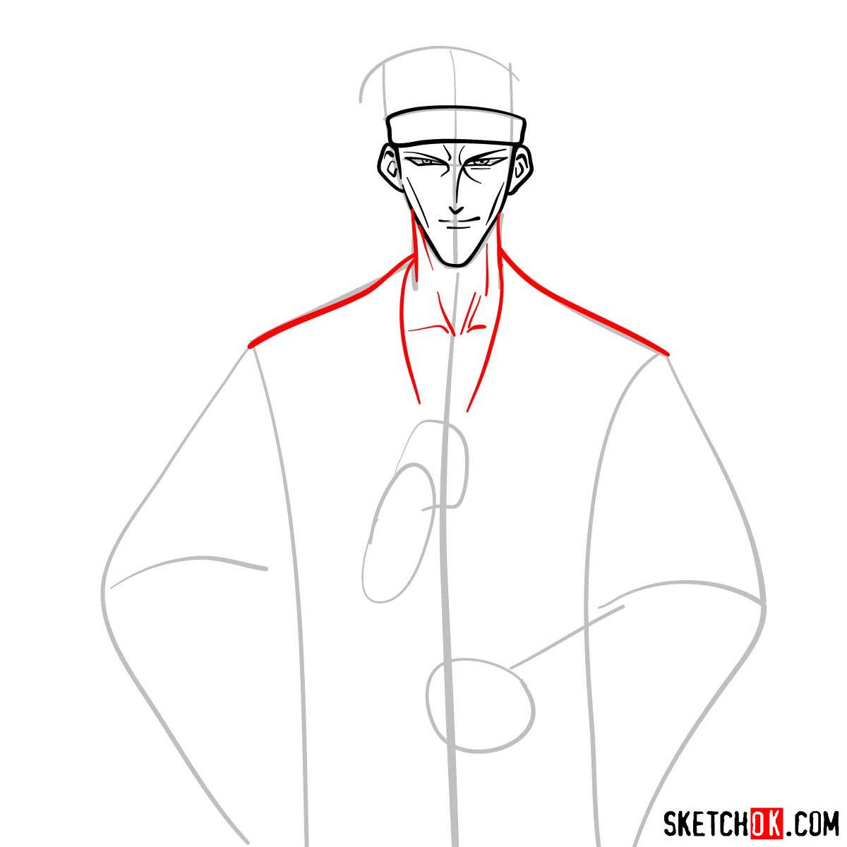 How to draw Saito Hajime | Rurouni Kenshin - step 05