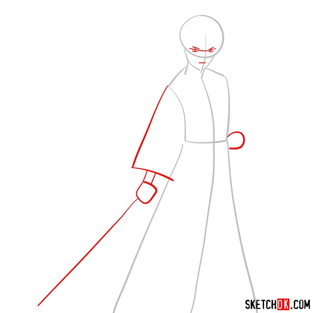 How to draw Himura Kenshin   Rurouni Kenshin - step 02
