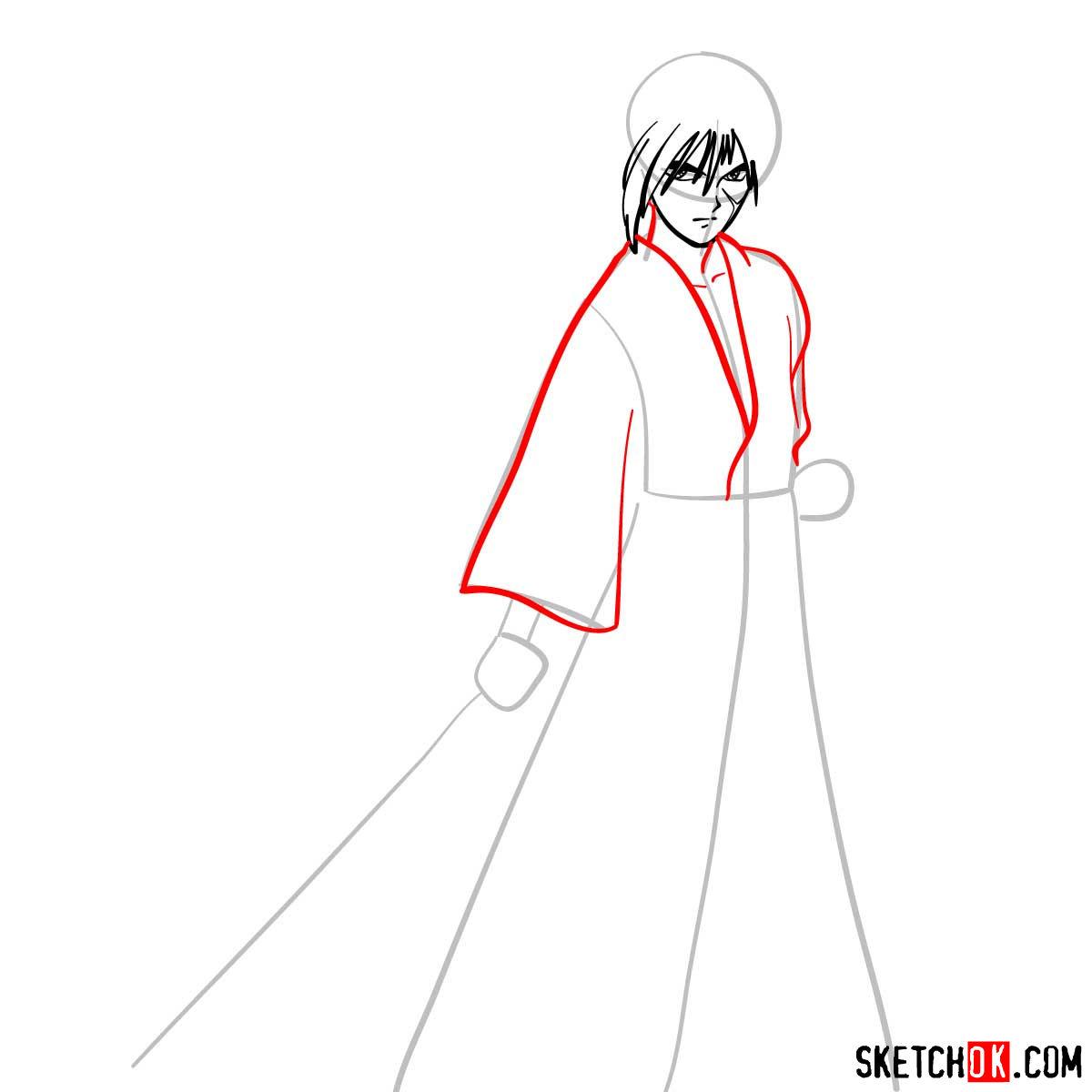 How to draw Himura Kenshin   Rurouni Kenshin - step 05