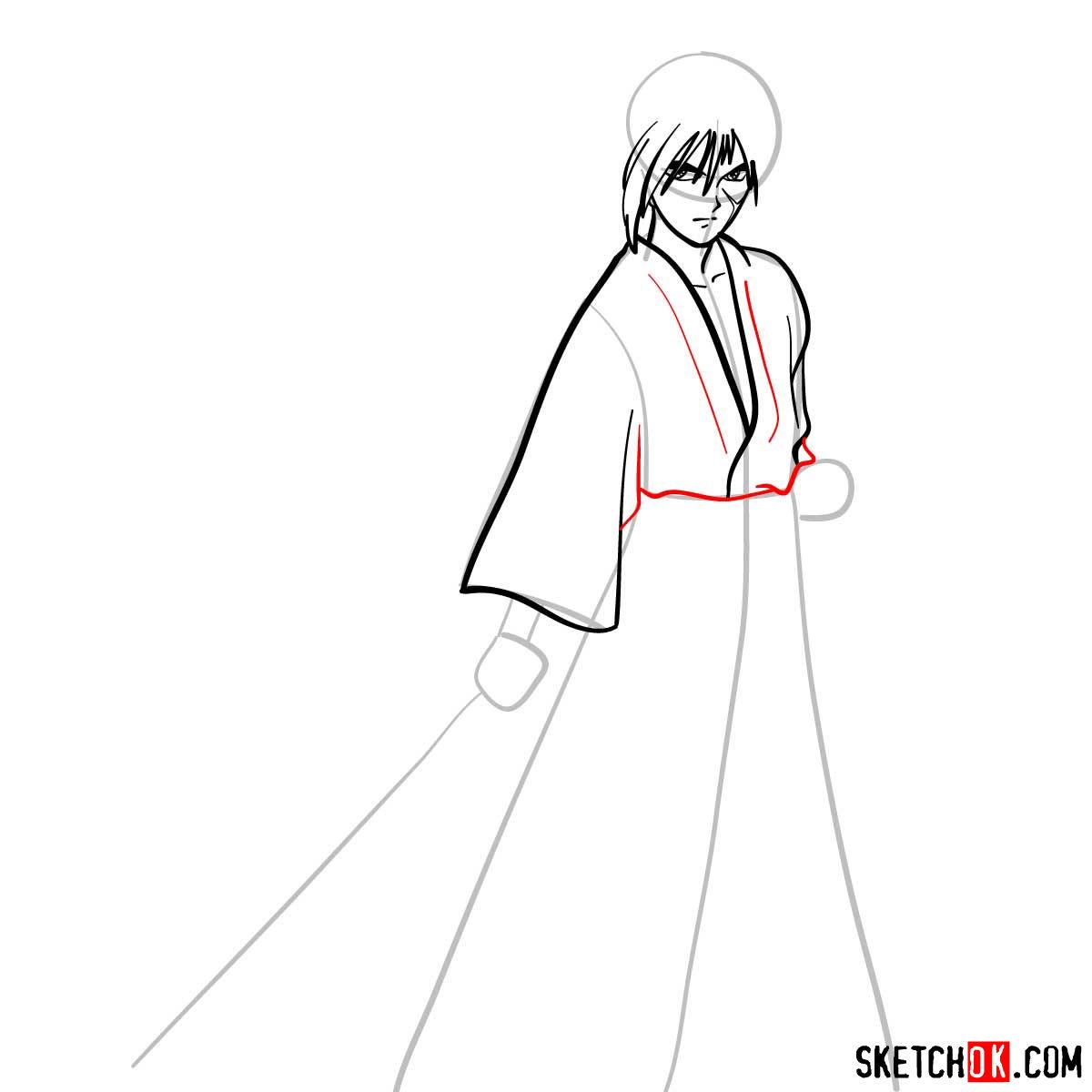 How to draw Himura Kenshin   Rurouni Kenshin - step 06