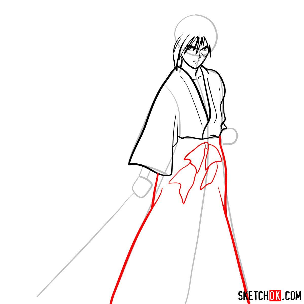 How to draw Himura Kenshin   Rurouni Kenshin - step 07