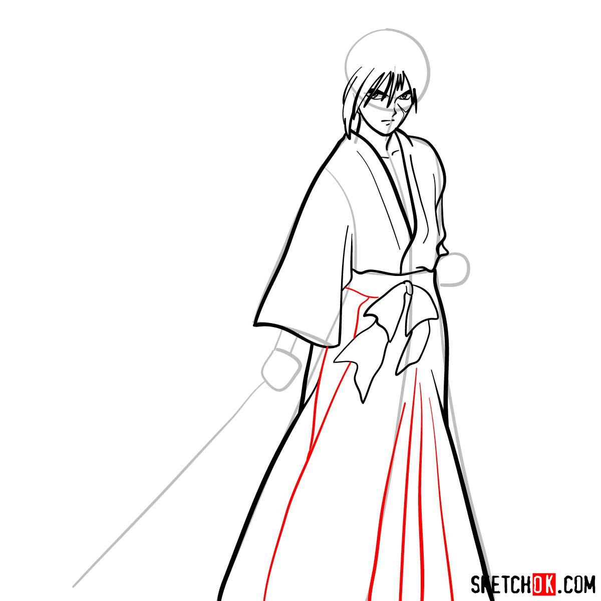 How to draw Himura Kenshin   Rurouni Kenshin - step 08