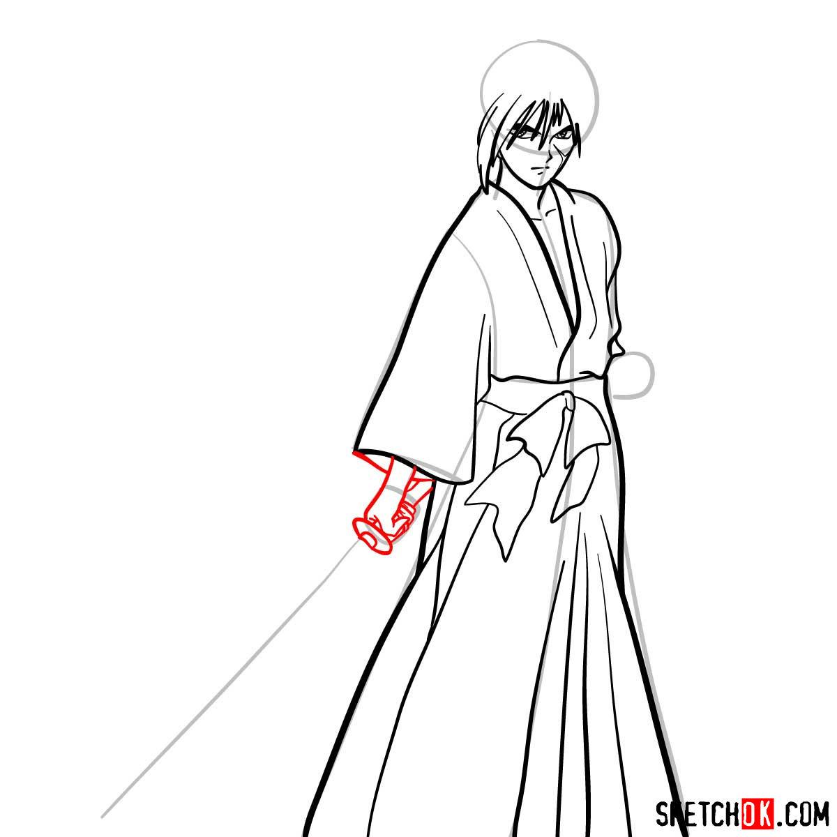 How to draw Himura Kenshin   Rurouni Kenshin - step 09