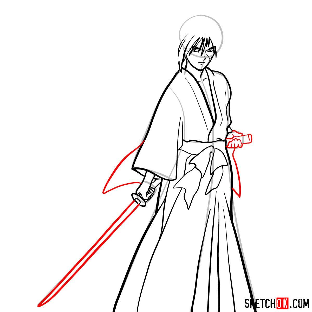 How to draw Himura Kenshin   Rurouni Kenshin - step 10