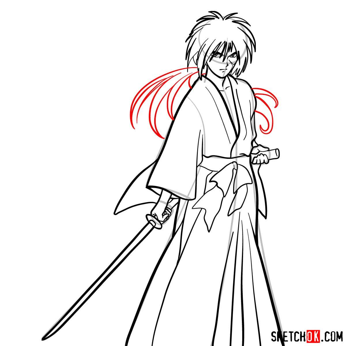 How to draw Himura Kenshin   Rurouni Kenshin - step 12
