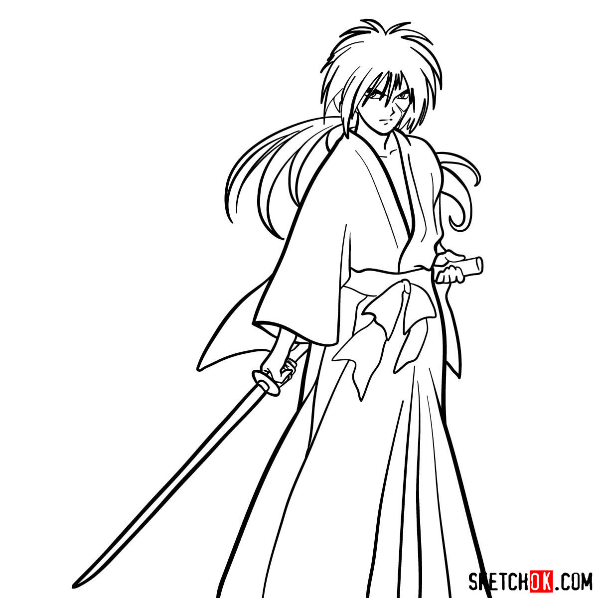 How to draw Himura Kenshin | Rurouni Kenshin