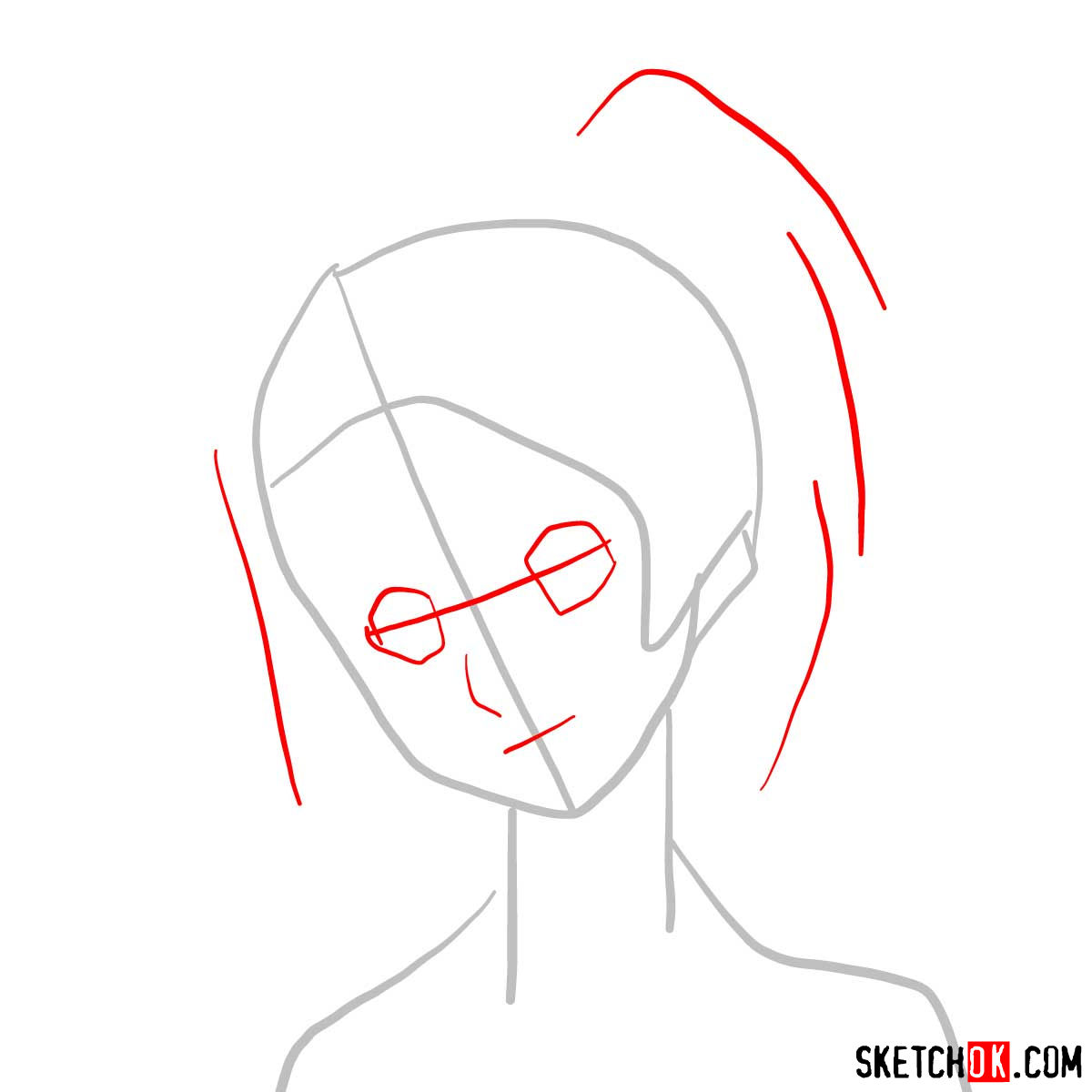 How to draw Fuu's face | Samurai Champloo - step 02