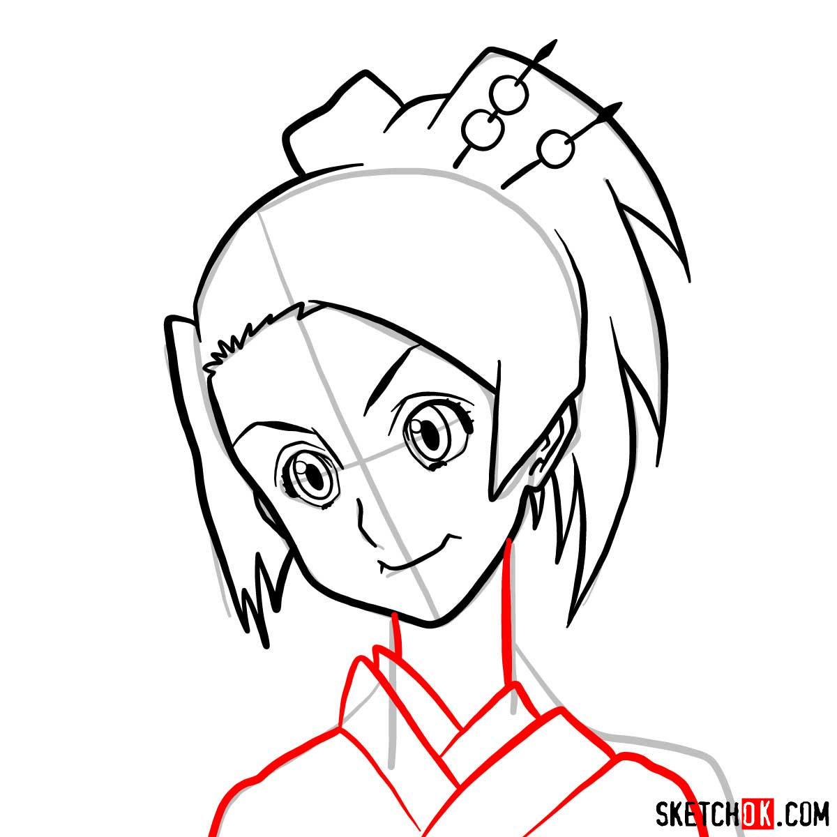 How to draw Fuu's face | Samurai Champloo - step 08