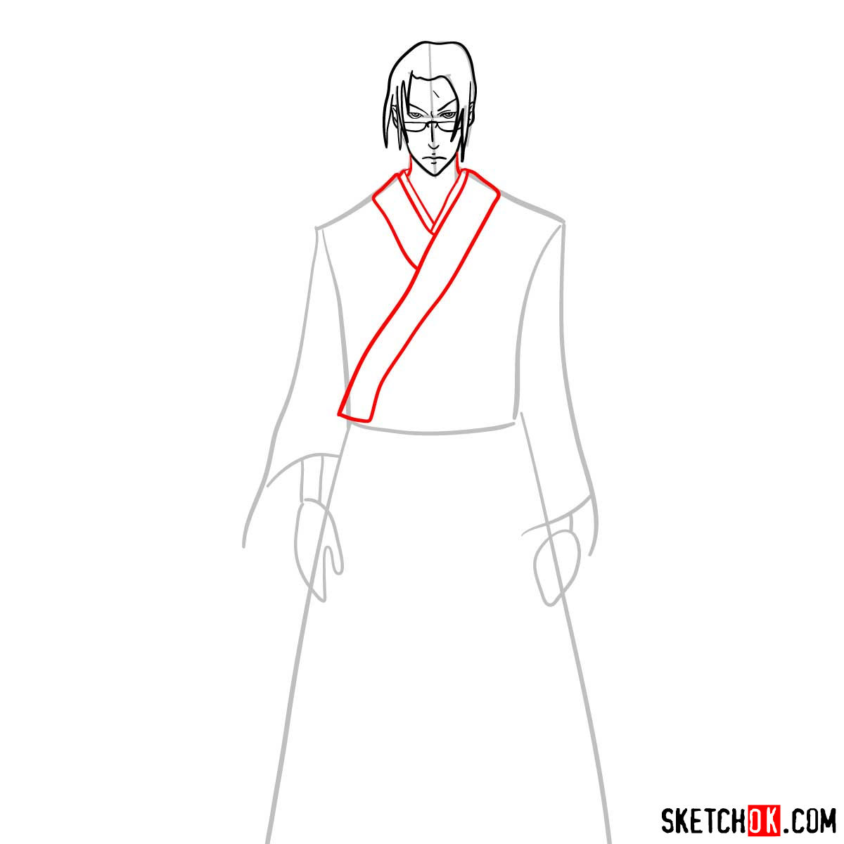 Making the drawing of Jin in full growth   Samurai Champloo - step 07