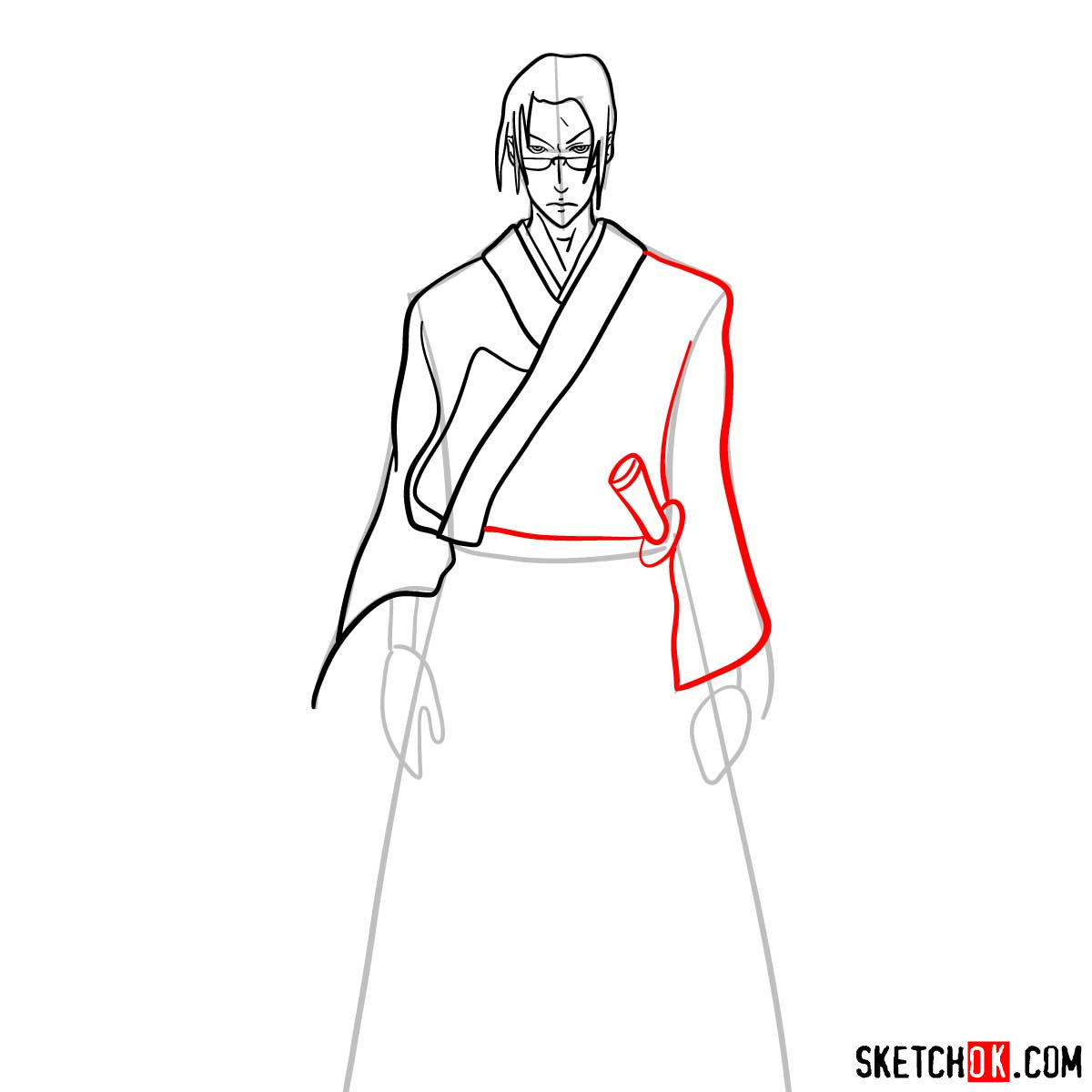 Making the drawing of Jin in full growth   Samurai Champloo - step 09