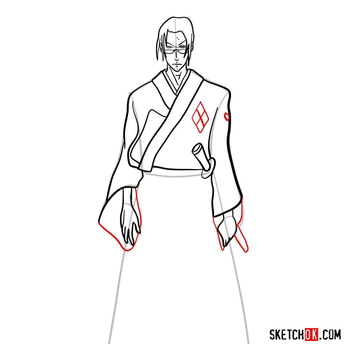 Making the drawing of Jin in full growth   Samurai Champloo - step 11