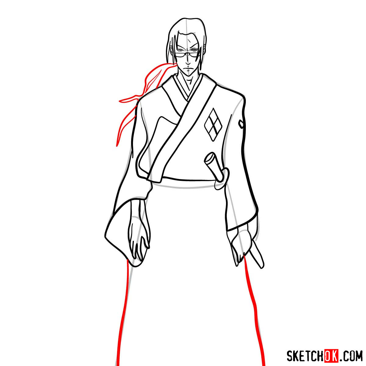 Making the drawing of Jin in full growth   Samurai Champloo - step 12