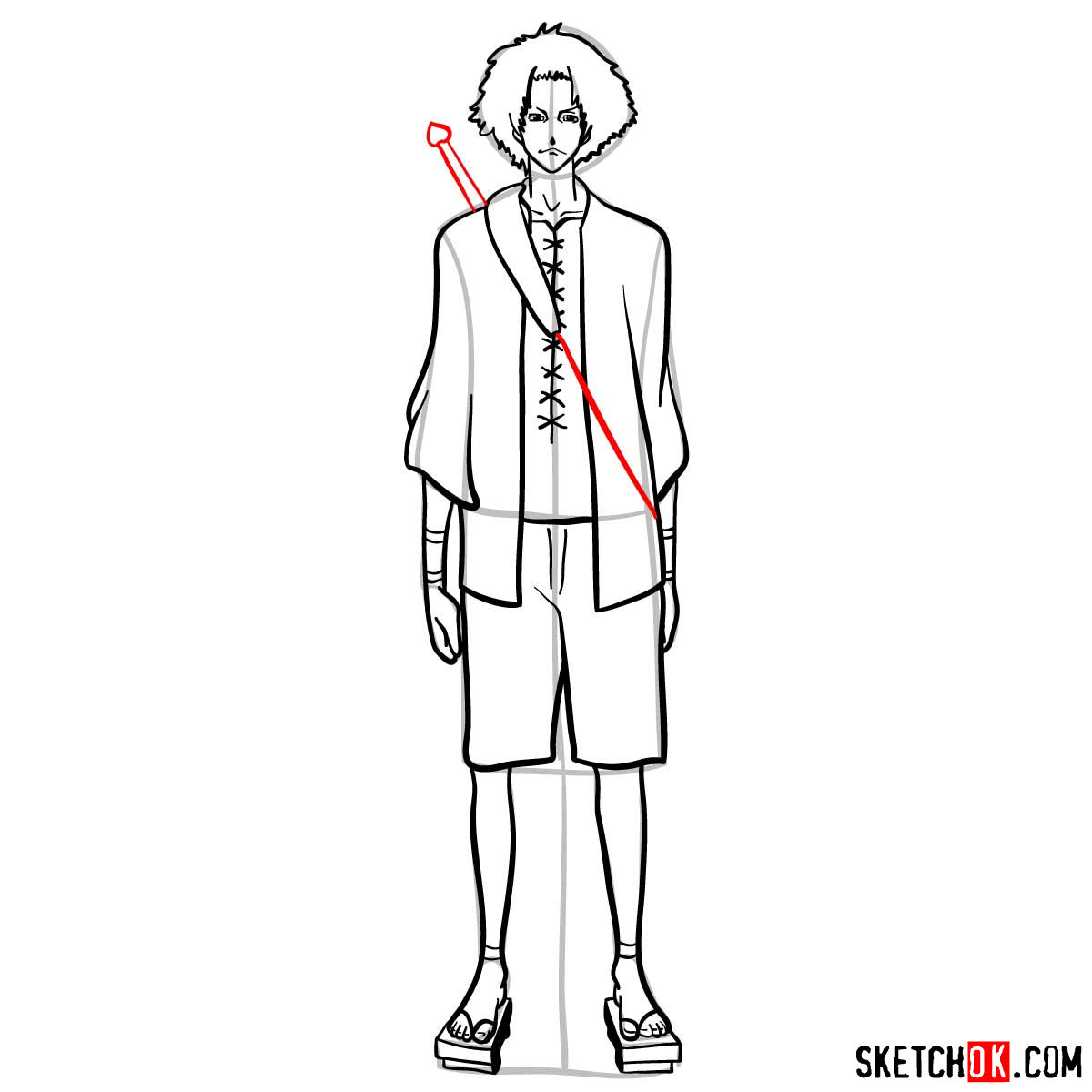 How to draw Mugen from Samurai Champloo anime - step 13