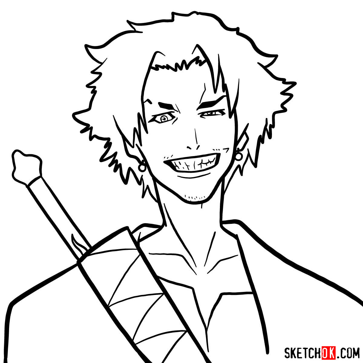 Making the drawing of Mugen's face in 12 steps