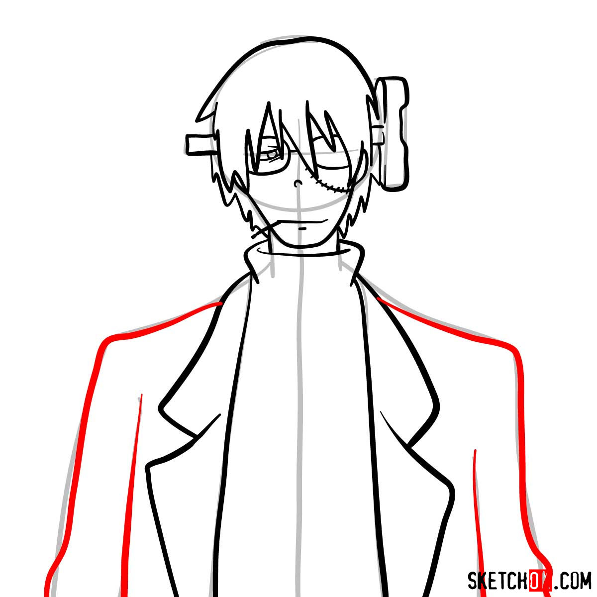 How to draw Franken Stein   Soul Eater anime - step 08