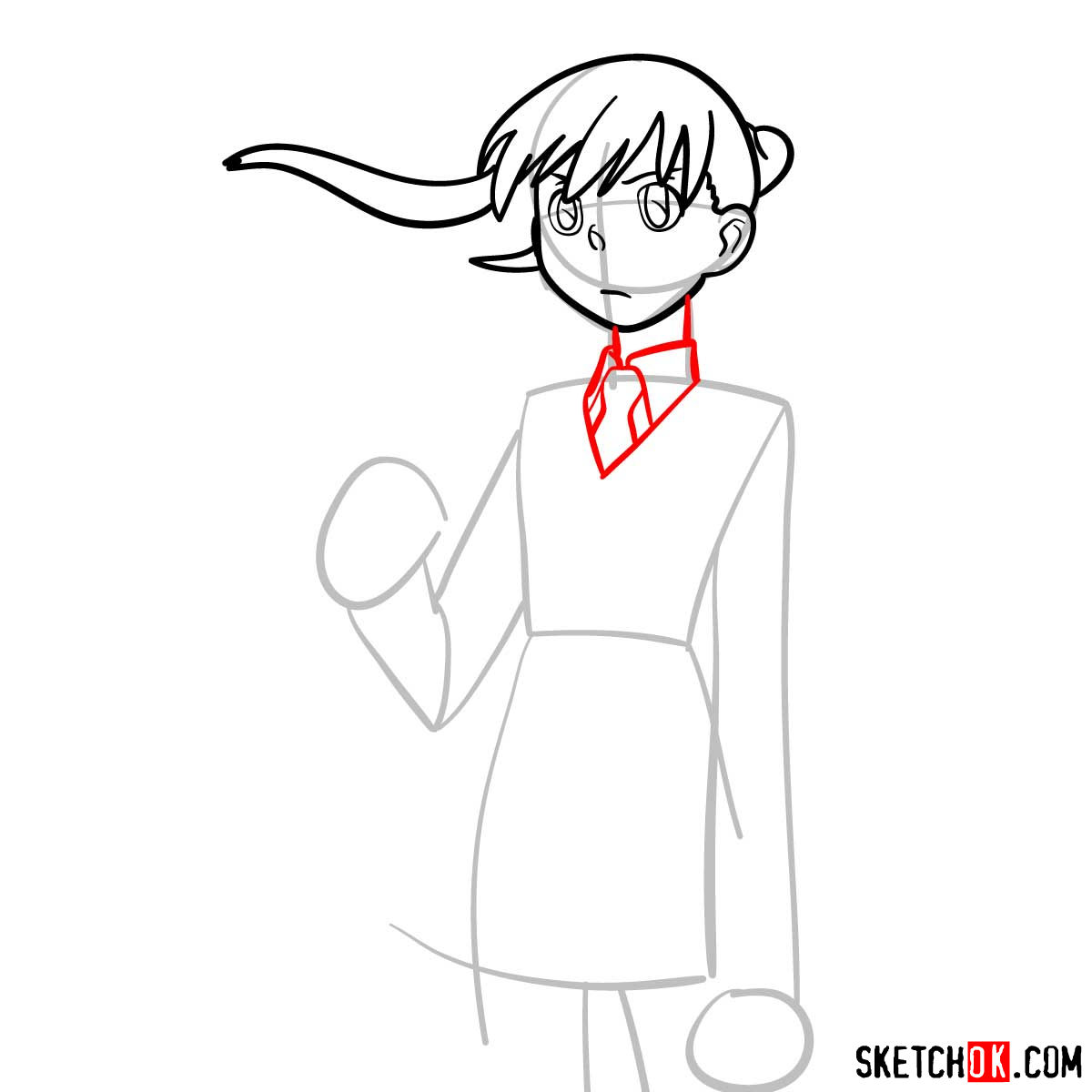 How to draw Maka Albarn | Soul Eater anime - step 06