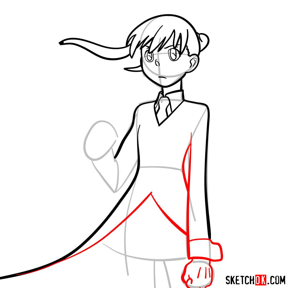 How to draw Maka Albarn | Soul Eater anime - step 08