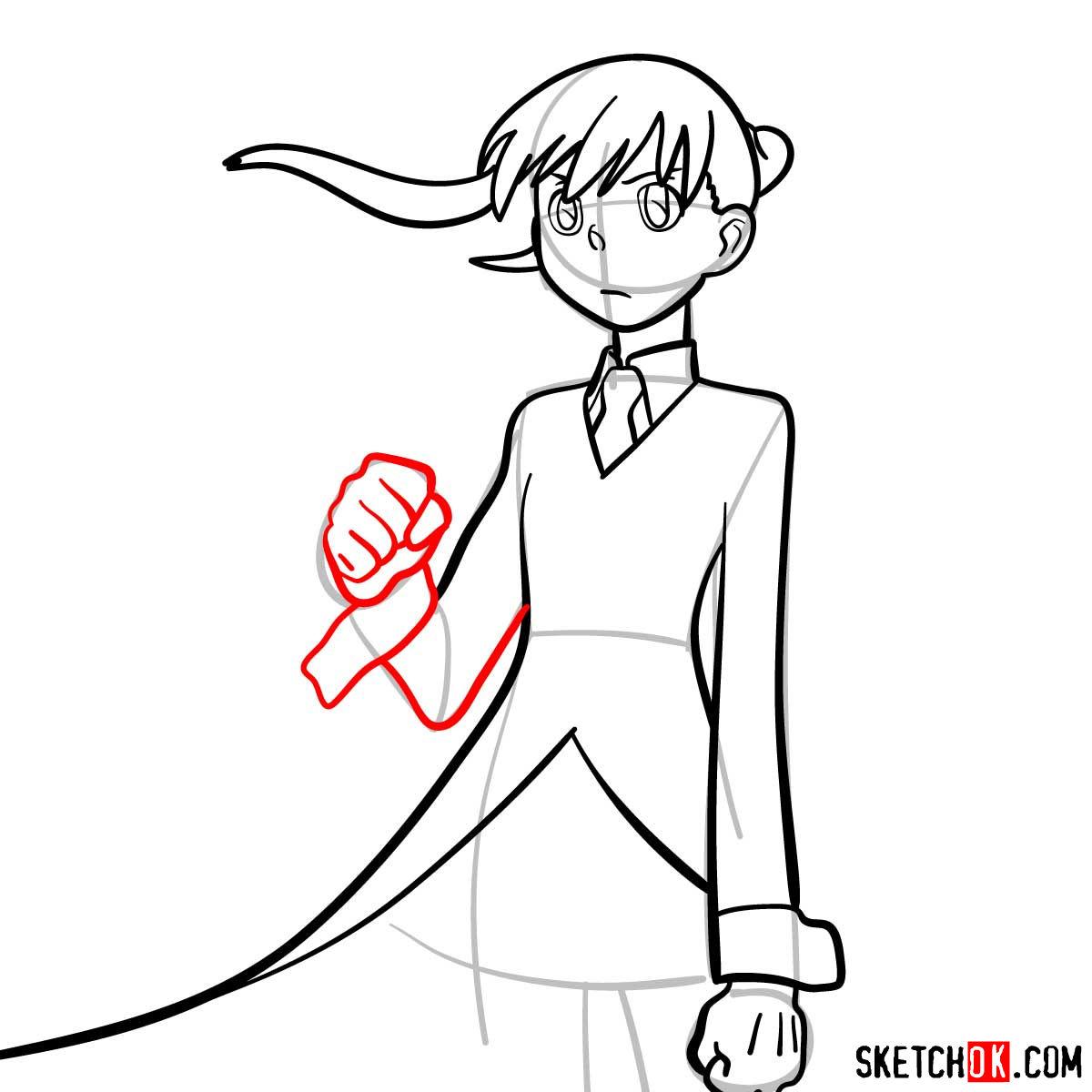 How to draw Maka Albarn | Soul Eater anime - step 09