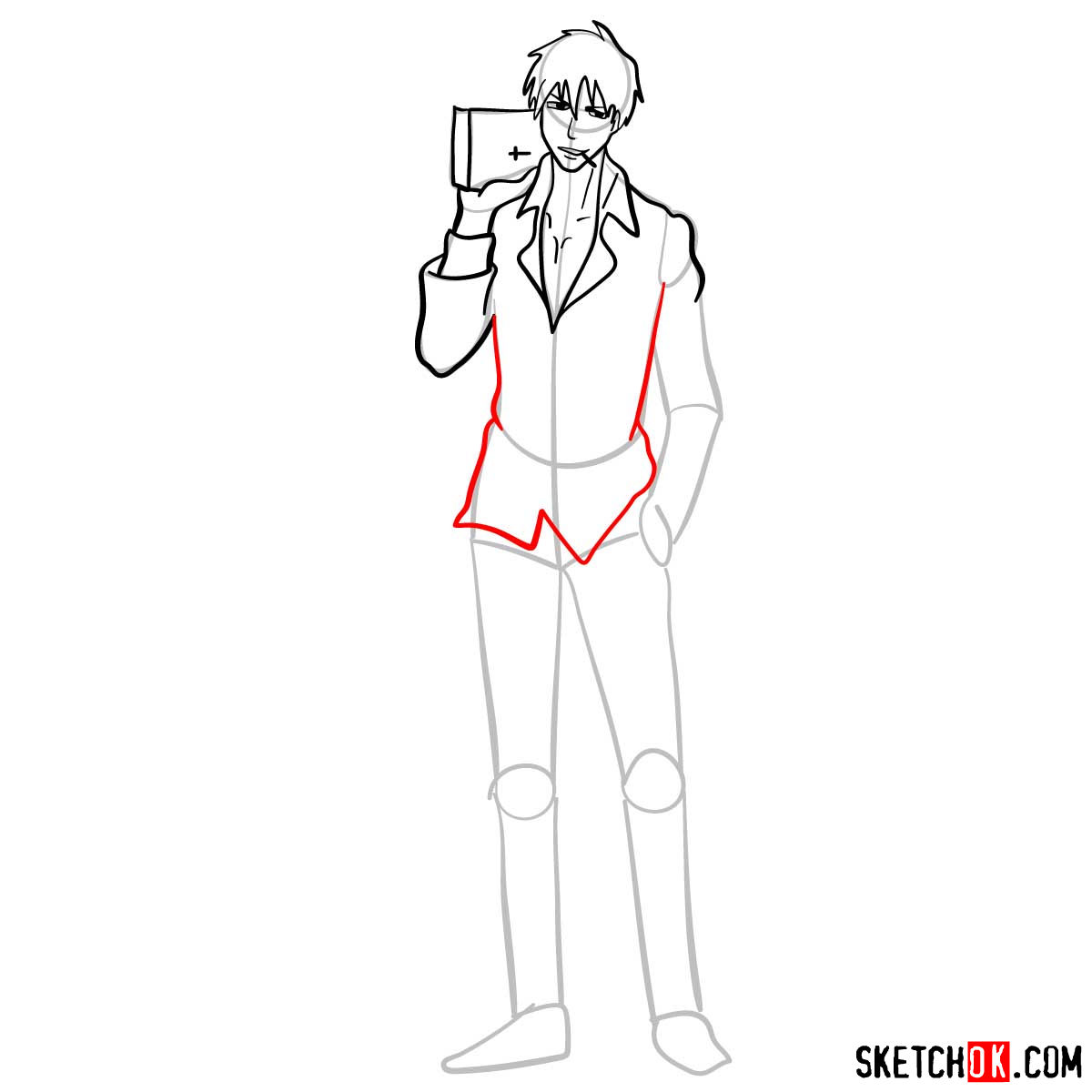 How to draw Nicholas D. Wolfwood from Trigun anime - step 09