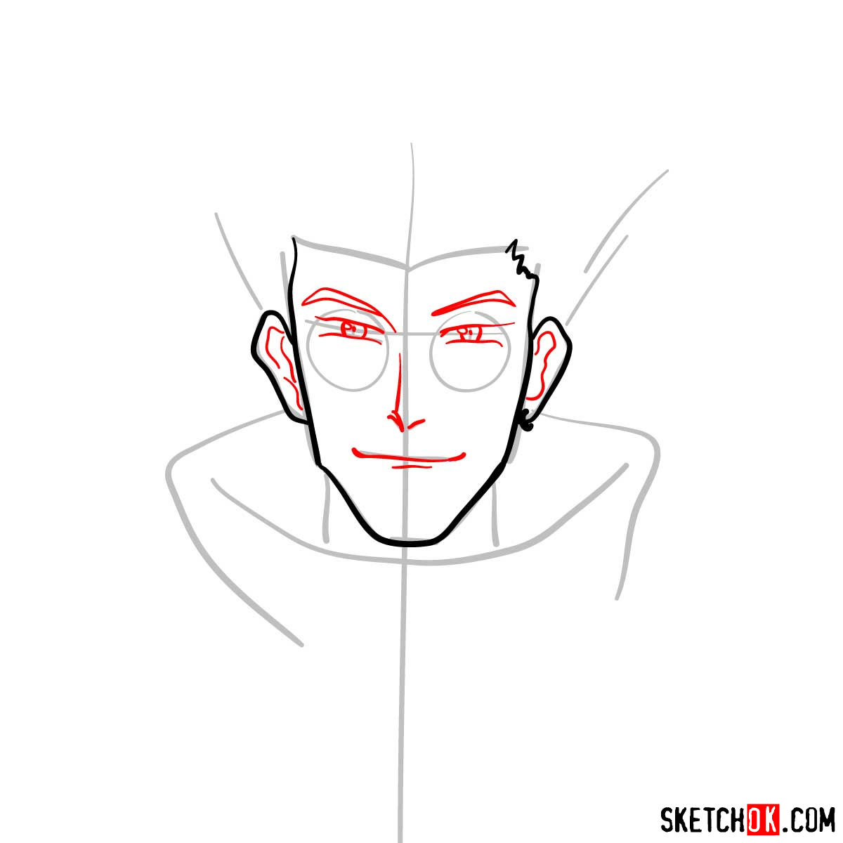How to draw Vash's face | Trigun anime - step 04