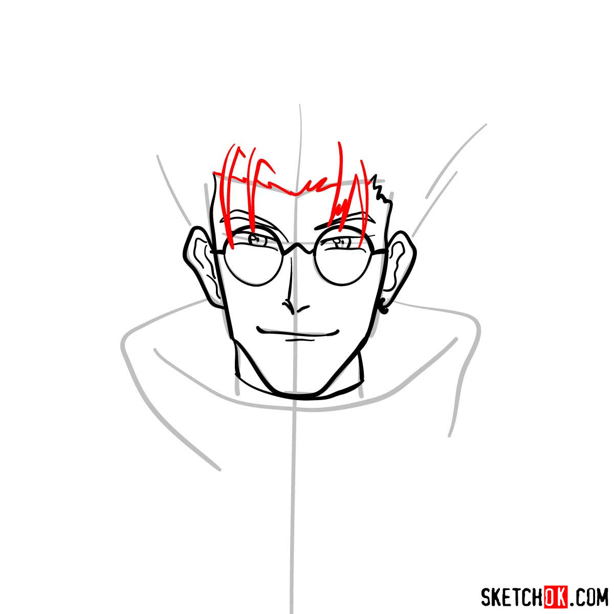 How to draw Vash's face | Trigun anime - step 06
