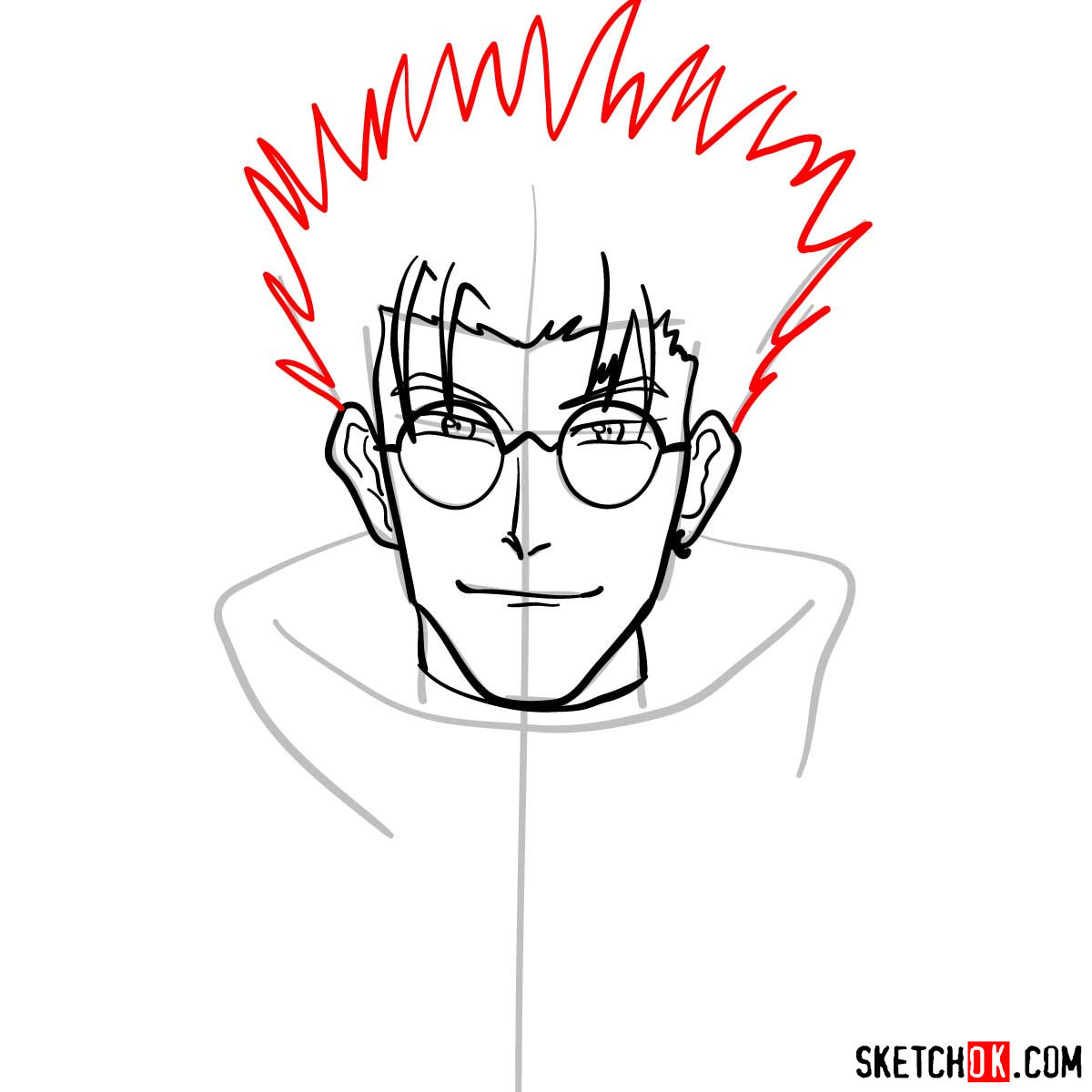 How to draw Vash's face | Trigun anime - step 07