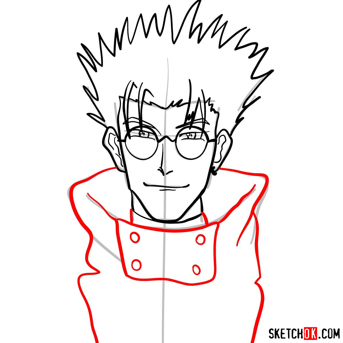 How to draw Vash's face | Trigun anime - step 08