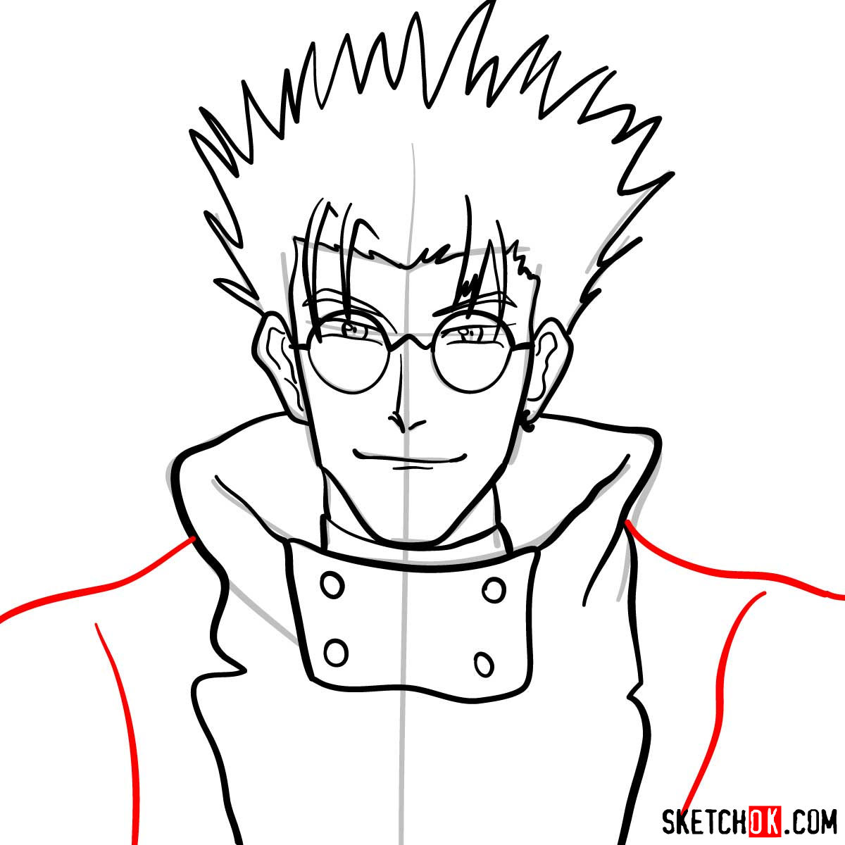 How to draw Vash's face | Trigun anime - step 09