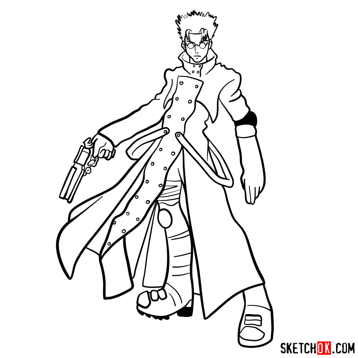 How to draw Vash the Stampede from Trigun anime