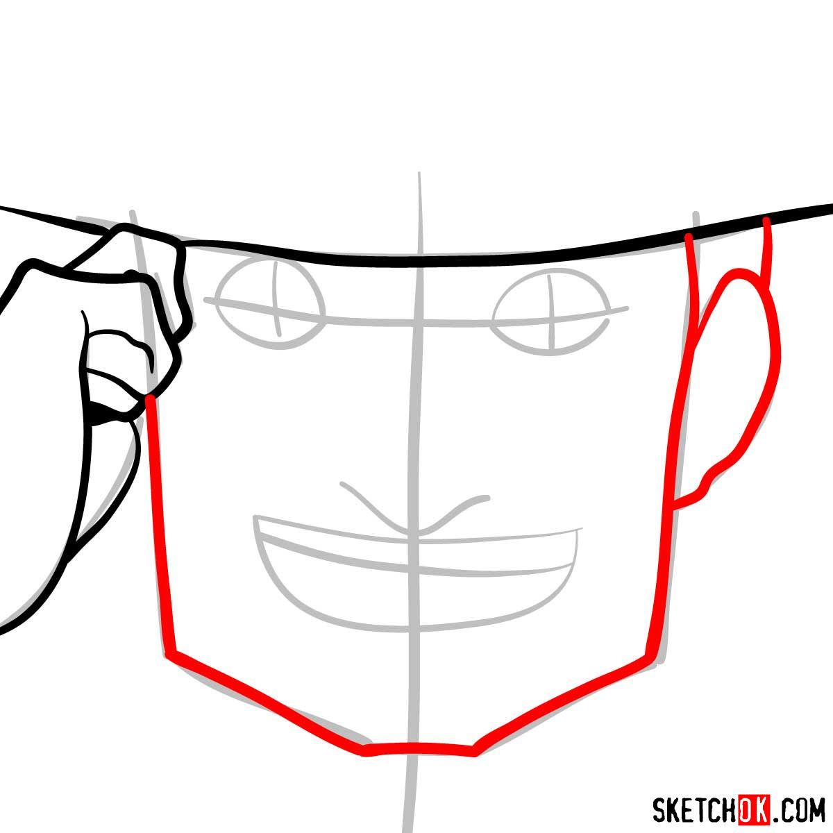 How to draw Mad Pierrot Tongpu | Cowboy Bebop anime - step 04