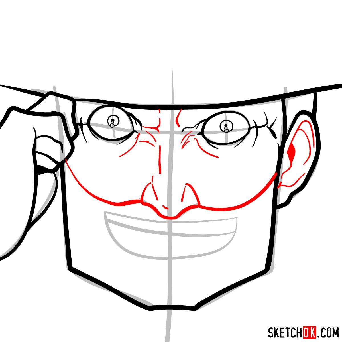 How to draw Mad Pierrot Tongpu | Cowboy Bebop anime - step 06